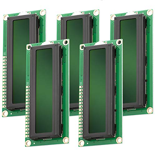 AZDelivery HD44780 1602 16x2 Serial LCD Black Character Green Backlight Display Board 3.3V 5V Compatible with Arduino Raspberry Pi Including E-book! (Pack of 5)
