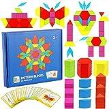 Bloques de Madera,155 Pack Bloques de Patrones de Madera Geométrica Puzzles Bloques de Construcción Rompecabezas Tangram Montessori de Colores con 24 Pieza de Tarjetas de Diseño y Bolsa para Niños 3+