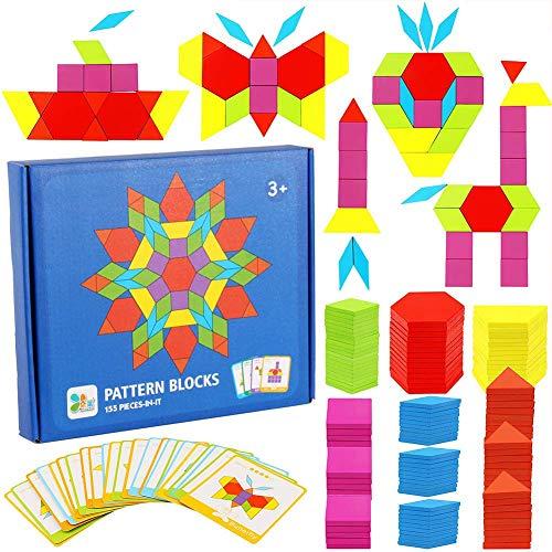 Puzzle en Bois Tangrams,155 Pack Montessori Bebe Tangram Géométrique Coloré Tangram Montessori Blocs Set avec 24 Pcs Cartes de Conception et Sac de Rangement pour Enfants 3+