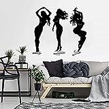 Pegatinas de pared para niña, pegatinas de pared de bailarinas de moda para dormitorio, vinilo para sala de estar, decoración del hogar-40x36cm