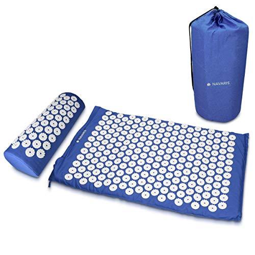 Navaris 2in1 Akupressur Massage Set - 1x Akupressurmatte 1x Kissen mit Tasche - Akupressur Matte und Kopfkissen zur Lösung von Verspannungen - Blau