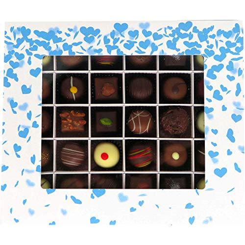Hallingers 30er Pralinen-Mix handgemacht, mit/ohne Alkohol (360g) - Blue Hearts (Pralinenbox) - zu Muttertag & Vatertag