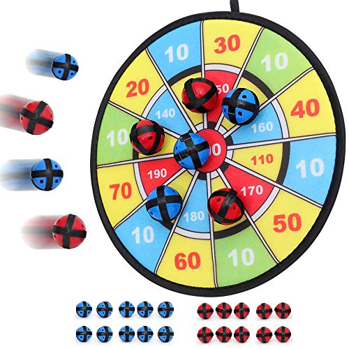 Kids Dart Board Game with 20 Balls Using Hook-and-Loop Fasteners   11.8 Inches (30 cm) Diameter   Classic Dartboard Game and Safe for Kids (Blue and Yellow)