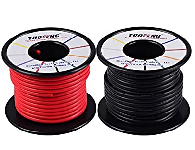 TUOFENG 14 AWG Wire,Soft and Flexible Silicone Insulated Wire 20 m [10 m Black And 10 m Red ] Stranded Wire High temperature resistance for RC Applications,Test Lead,Drones Battery
