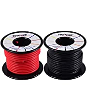 TUOFENG 14 AWG Cable, suave y flexible Cable aislado de silicona 20 m [10 m negro y 10 m rojo] Cable trenzado Resistencia de alta temperatura para aplicaciones RC, cable de prueba, batería de drones