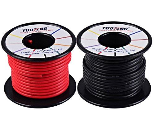 TUOFENG 14 AWG Draht, weich und flexibel Silikon isolierte Draht 20 m [10 m Schwarz und 10 m Rot] Litze Hohe Temperaturbeständigkeit für RC-Anwendungen, Testkabel, Drohnen Batterie