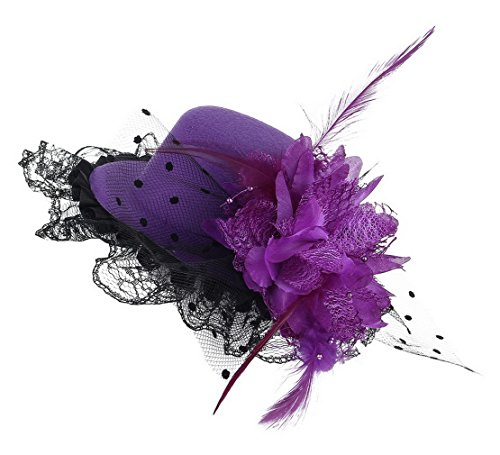 GEMVIE Pince à Cheveux Chapeau Mini Bibi Fleur Ruban Plume Dentelle Enfant Fille Fillette Violet