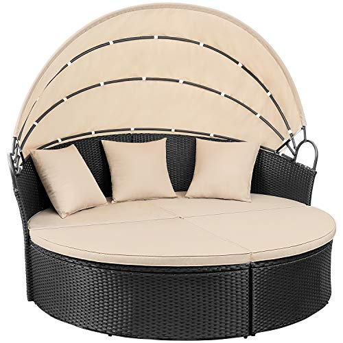Devoko Patio Furniture Outdoor Round Daybed with Retractable Canopy Wicker Rattan Separated Seating Sectional Sofa for Patio Lawn Garden Backyard Porch Pool