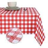 Obstal 100% Waterproof PVC Table Cloth, Oil-Proof Spill-Proof Vinyl Rectangle Tablecloth, Wipeable...