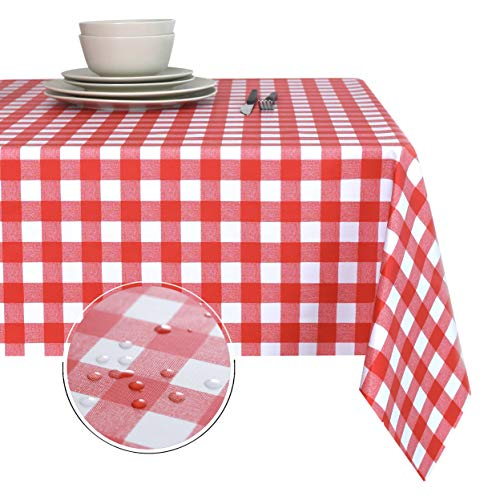 Obstal 100% Waterproof PVC Table Cloth, Oil-Proof Spill-Proof Vinyl Rectangle Tablecloth, Wipeable Table Cover for Outdoor and Indoor Use