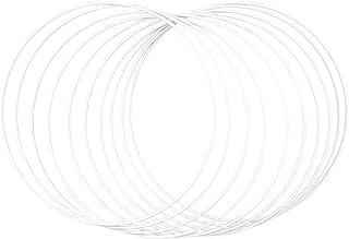 Rayher 25214102 metallringar, 10 stycken, 25 cm ø, vit belagd, tjocklek ca 3 mm, tråddragning för hantverk, för omslagstek...