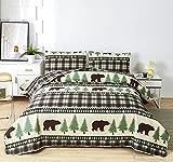 Rustikales Bären-Steppdecken-Set für King-Size-Bett, leichte Plaid-Tagesdecke, Waldbaum-Decke, Lodge, Hüttenbett mit Kissenbezügen (Beigebraun, King-Size)