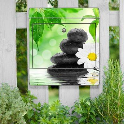 motivX-Ideenwerkstatt Briefkasten Kombi Wandbriefkasten mit Motiv Steine mit weißer Blume