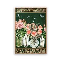 ピンクのバラ緑の葉ポスター水彩画植物キャンバスプリント恋人ギフト植物壁画リビングルーム壁アートパネル装飾30x40cmフレームなし