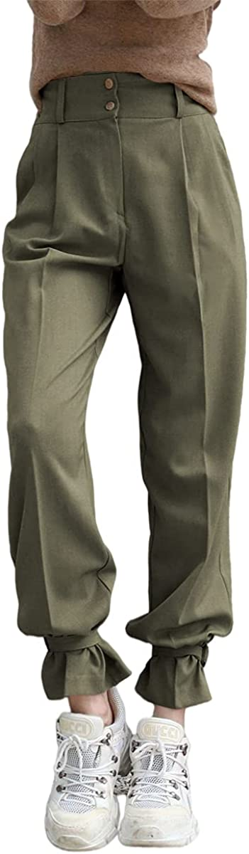 Grlasen Women's Fashion Cargo Pants Solid Color Csaul High Waist Long Pants Joggers with Pockets