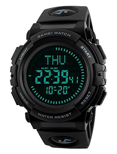 Men's Military Sports Digital Watch with Survival Compass 50M Waterproof Countdown 3 Alarm Stopwatch (Black) (Black) (Black)