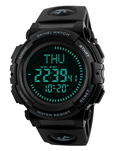 Men's Military Sports Digital Watch with Survival Compass 50M Waterproof Countdown 3 Alarm Stopwatch (Black) (Black)
