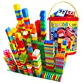 Big Building Block Set - 214 Pieces Toddler Educational Toy Classic Large Size Building Block Bricks - 13 Fun Shapes and Storage Bucket - Compatible with All Major Brands Bulk Bricks Set for All Ages from burgkidz