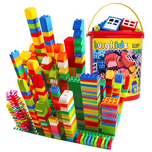 Big Building Block Set - 214 Pieces Toddler Educational Toy Classic Large Size Building Block Bricks - 13 Fun Shapes and Storage Bucket - Compatible with All Major Brands Bulk Bricks Set for All Ages