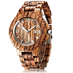 NATURAL AND COMFORTABLE: The CUCOL All Black Sandalwood men's wrist watch is made of high quality natural wood that is smooth and feels nice to the skin. It also weighs only 62 grams which greatly adds to the comfort aspect. UNIQUE VINTAGE STYLE: Thi...