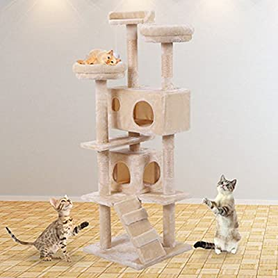 """JAXPETY 60"""" Multi-Level Cat Tree Tower, Kitten Condo House with Scratching Posts, Kitty Play Activity Center (Beige)"""