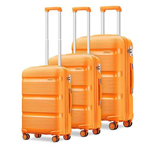 Kono Juego de Maletas, Equipajes de Viaje,Plástico PP 4 Ruedas de Rotación de 360 °,Resistentes y Duraderas,Cerradura TSA (Naranja)