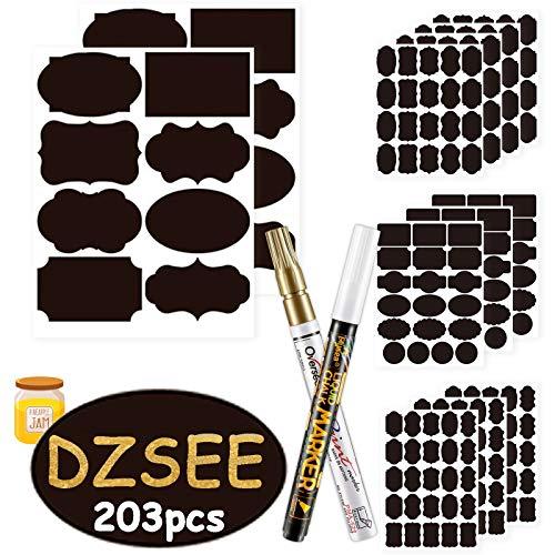 DZSEE® 203x Etiquetas Adhesivas + 2 Marcador de Tiza, Pegatina Reutilizable, etiquetas para Frascos, Pegatinas Pizarra para Tarros Borrable, Decorar Tarros, Vino, Despensa, Hogar y Oficina