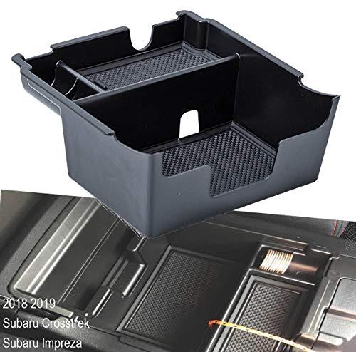 EDBETOS Center Console Organizer Tray Compatible with Subaru Crosstrek 2018-2021 and fits Subaru Impreza 2017-2021 Accessories Armrest Secondary Storage Box ABS (Black Trim)