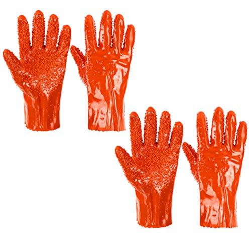 Garneck 2 Paar Gummihandschuhe rutschfeste Fischfanghandschuhe Handschuhe mit Rauer Oberfläche Schutzarbeitshandschuhe Angeln Jagdhandschuhe