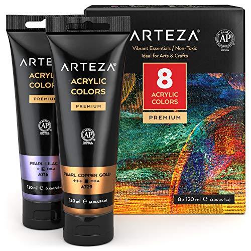 Peinture acrylique métallisée Arteza, set de 8 couleurs métallisées en tubes de 120 ml pigments riches, sans décoloration, peintures non toxiques pour les artistes, les peintres amateurs sur toile