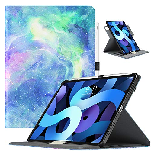 TiMOVO Case for New iPad Air 4th Generation, iPad Air 4 Case (10.9-inch, 2020), 90 Degree Rotating Stand Leather Cover, [Support Apple Pencil Charging] Smart Case & Auto Sleep/Wake - Dreamy Nebula