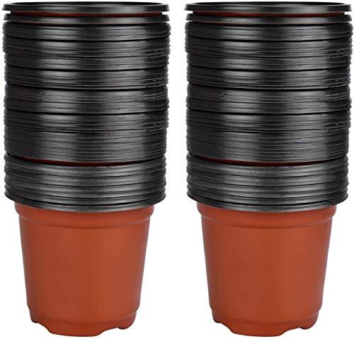 Enenes 50 macetas redondas de plástico blando de 15 cm para plantas y esquejes, 50, 15 cm