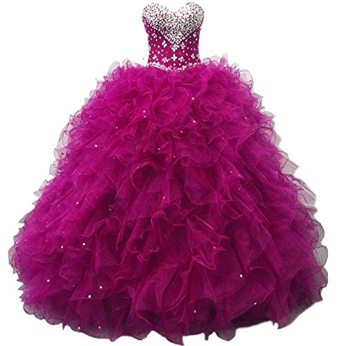 Diandiai Sweetheart Quinceanera Dress Beads Ruffles Ball Gown Prom Dress