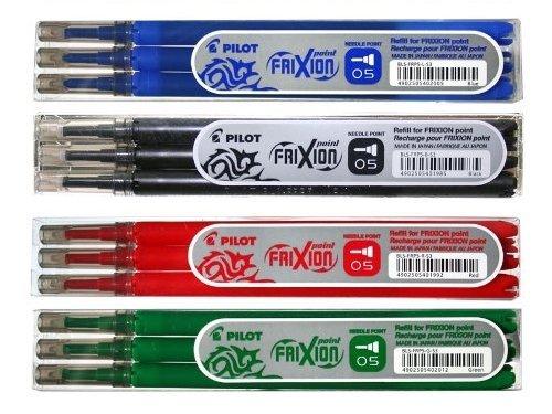 Pilot FriXion Point Tintenroller - 4 Ersatzminen-Sets zu je 3 Stück in den Farben blau, schwarz, rot, grün
