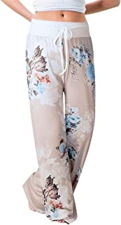 f4be61cb0747 JOFOW Womens Flowers Floral Print Ethnic Drawstring Loose Long Comfy Wide  Leg Pants