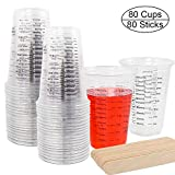DEPEPE 80pcs 8oz Disposable Graduated Mixing Cups for Resin Clear Plastic Measuring Cups with 80 Wooden Stirring Sticks for Mixing Paint, Stain, Epoxy, Resin