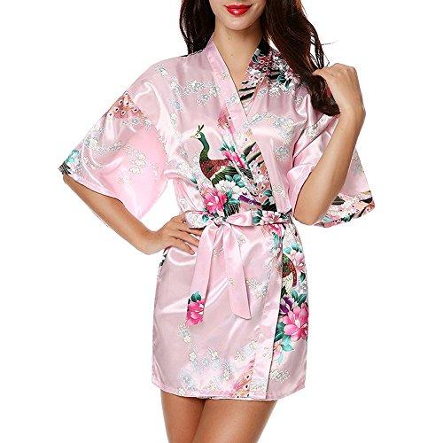 Vrouwen Sexy Lange Satijn Zijde Bruid Kimono Nacht Dressing Jurk Nachtkleding (LWhite)