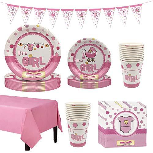 Amycute Stoviglie per Baby Shower Gender Reveal Festa, Its A Girl Piatti Bicchieri Tovaglioli Tovaglia Banner per Compleanno delle Bambina Ragazze (8 Ospiti)