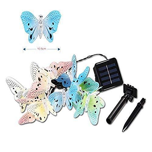12LED Fibra Óptica Mariposa Solar al aire libre Impermeable Jardín Patio Bar Navidad Linterna de cadena de luz
