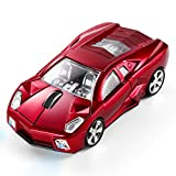 BKLNOG Sports Car Shaped Computer Mouse [Updated] with LED Headlights, 1600 DPI Optical Sensor 2.4 GHz Wireless Mouse for PC & Mac, Red