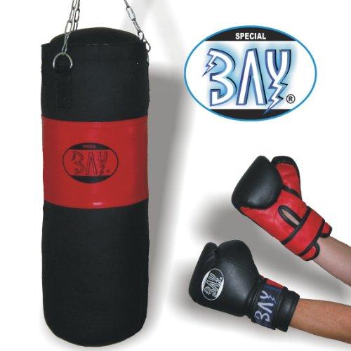 BAY® BOXSET Plus 8 Kilo ca. 85 x 28 cm gefüllt mit Stahl Kette, für Damen Herren Jugendliche Kinder und mehr, Box-Set Sandsack Boxsack + Boxhandschuhe, Box- Handschuhe, Kids Junior Teens, schwarz/rot, fertig gefüllter + Stahlkette,