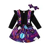 MoccyBabeLee Conjunto de 3 piezas de ropa de invierno para niños pequeños y niñas, con estampado de calabaza, Negro, 3-4 Años