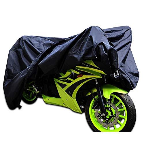 Outdoor Fietsenstalling Cover, Silver-coated UV-bestendig Motorhoes, 104-inch 190T Polyester, Zwart, geschikt for de meeste motoren en fietsen