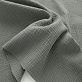 TOLKO Musselin Stoff Meterware   Baby weicher ÖkoTex Baumwollstoff   Kleid Bluse Tuch Decke Tagesdecke Bettwäsche   Double Gauze 130cm breit Nähstoffe Baumwollstoffe uni Dekostoff 50cm (Taupe)