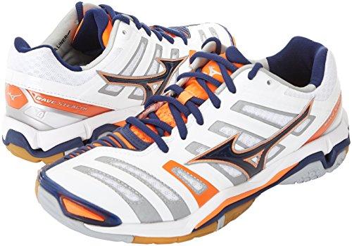 Mizuno Herren Wave Stealth American Handball Schuhe, Mehrfarbig (White/bluedepths/orangeclownfish), 45 EU - 3