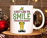 Tazza da caffè in ceramica con scritta 'I Just Like to Smile Smiling's My Favorite', da 325 ml