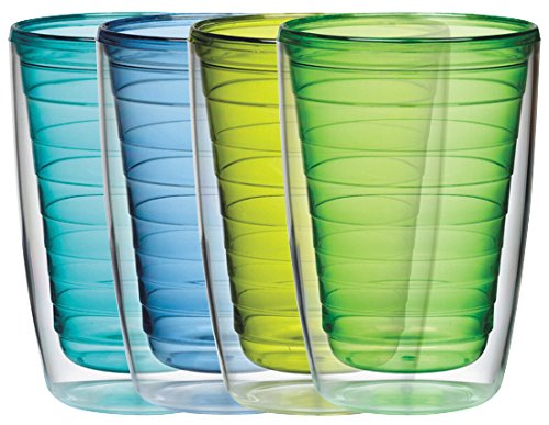 Boston Warehouse Insulated Plastic Tumblers, 16-Ounce, Set of 4, Marine Collection