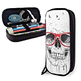 XCNGG Estuche para lápices neceser Skull With Red Glasses Variety Face Towel Leather Pencil Case Pouch Zippered Pen Box School Supply For Students Big Capacity Stationery Box Travel Makeup Pouch Bag