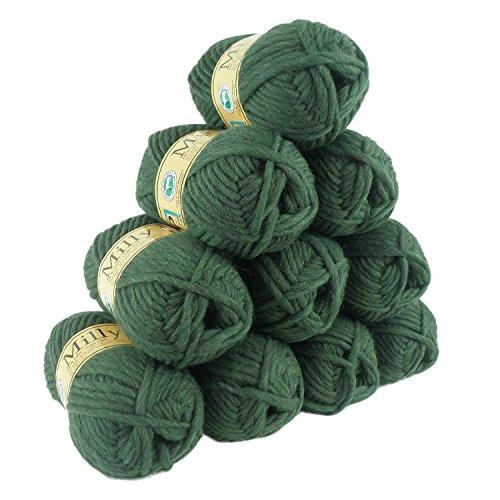 500g Filzwolle Milly Wolle zum Strickfilzen 100% Schurwolle, große Farbwahl, Farbe:87 dunkelgrün