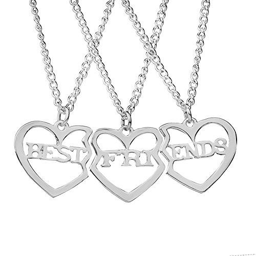 Elegant Rose 3 Piezas Best Friends Forever BFF Plata corazón Clave Colgante Collar Conjunto Amistad Accesorios (Silver)